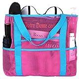CHIC DIARY Strandtasche faltbar Sandfrei Netz Tasche Tragetasche Gummi Umhängetasche für Kinder Sandspielzeug Aufbewahrung Strand (Rosa)