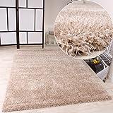 PHC Shaggy Teppich Hochflor Langflor leicht Meliert Qualitativ u Preiswert Uni Creme, Grösse:160x230 cm