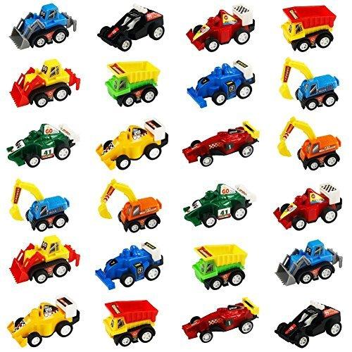 jerryvon Spielzeugautos Mini LKW Bagger Bulldozer Rennwagen Fahrzeuge Modell Spielzeug für Kinder, 24 Pcs