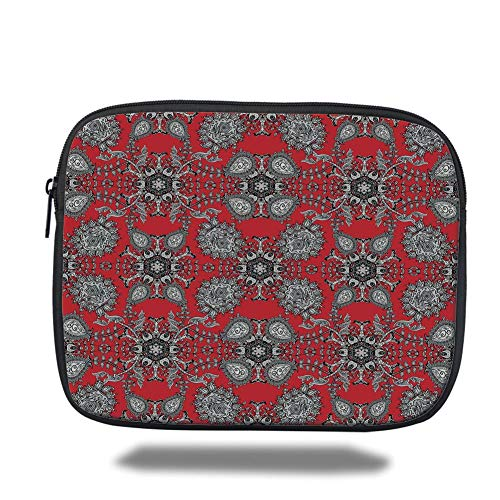 Laptop Sleeve Case,Red Mandala,Doodle Mandala Flower Ivy Swirls Classic Paisley Ethnic Design Image Decorative,Scarlet White Black,Tablet Bag for Ipad air 2/3/4/mini 9.7 inch - Zwei Pocket Case Top-loading
