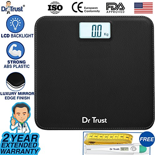 Dr Trust Absolute Leather Personal Digital Scale Weighing Machine for Body Weight (Black)