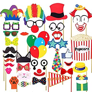 Carnival Photo Booth Requisiten Circus Photo Booth 30 DIY Kits auf Einem Stock, Kostüme mit Clownhüten, Schnurrbart, Brillen, Rote Nasen, Krawatte, Bunte Luftballons, Popcorn und Carnival Flag