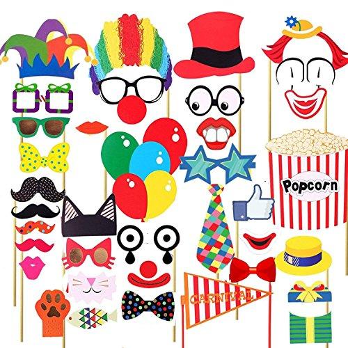 Carnival Photo Booth Requisiten Circus Photo Booth 30 DIY Kits auf Einem Stock, Kostüme mit Clownhüten, Schnurrbart, Brillen, Rote Nasen, Krawatte, Bunte Luftballons, Popcorn und Carnival Flag (Katze In Den Hut-partei-zubehör)