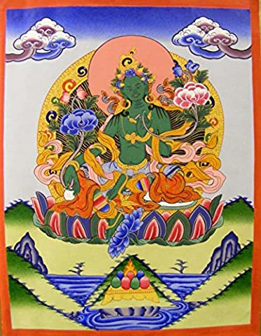 Original Tibetan Thangka Painting - Green Tara , Goddess of