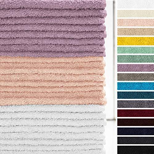 Lumaland Premium 24er Set Seiftücher Handtücher Frottee 30 x 30 cm aus 100{aa50eb88c23a55183ff1d5763b68f87e90a14efe12891b2013c802baeae6fdae} Baumwolle 420 g/m² mit Aufhänger weiß & rosé & Lavendel