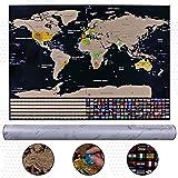 Konomio Weltkarte Zum Rubbeln, Rubbeln Landkarte 82cm *59cm, Reisekarte Poster Deluxe Edition mit Fahnen Scratch Chip Radiergummi, Perfekt für Reisende, Schulen und Familie