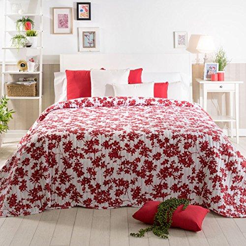 Sancarlos - Colcha bouti floral DAFNE, 100% Poliéster, Color rojo, Cama de 90 cm