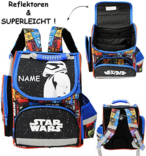 """Schulranzen - """" Star Wars - Stormtrooper """" - incl. Name - SUPERLEICHT & ergonomisch + anatomisch - Schulrucksack / mit Reflektor - Tasche - wasserfest & beschichtet - Ergo - Ranzen Tornister / Grundsc"""