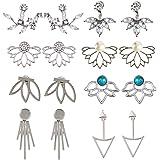 5 paia Orecchini a forma di fiore di loto chic di cristallo Orecchini a bottone semplice chic di cristallo
