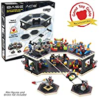 Base Ace 3D Play Platform for Minifigures EVO Kit Construction Toy for Mini Figures, Red Lines, Compatible with Major Brick Brands