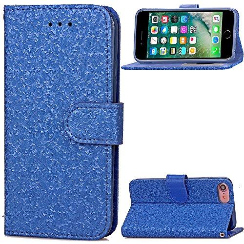 Wkae Case Cover Étui en cuir Wallet mixte Couleur PU Avec Cash Card slot lumineux Lignes Motif Case Support Soft Cover Silicone TPU Pour Apple IPhone 7 ( Color : White , Size : IPhone 7 ) Blue
