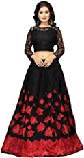 Nena Fashion Women's Satin Semi-stitched Lehenga Choli (Black and Red, Free Size)