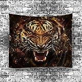 Etopfashion Realistic Lion Wolf Bear Tapis Imprimé Tapisserie suspendue avec des images romantiques Art Nature Décorations maison pour salon Décor de chambre à coucher dans 51x60-In