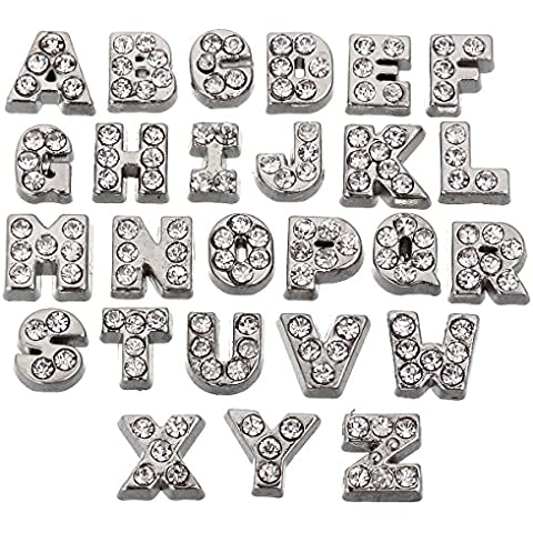 RUBYCA 26pcs Czech Crystal Floating Charms Alphabet A-Z Letters Lot for Glass Living Memory Locket Silver Color by