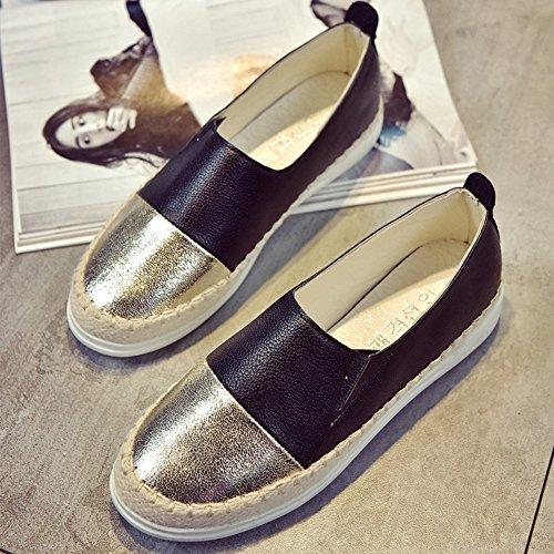 Scarpe Basse da Donna Piatto Slip on Espadrillas Metallico Casuale Nero Bianco(Argento Oro)35-39 Nero oro(scarpe modello sottile, scegliere 1-2 dimensioni in su)