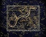 HQHff Costellazione Zodiaco Serpente Celeste Mappa Alessandria,Puzzle di Adulti 1000 Pezzi 75x50cm,Regalo di Puzzle in Legno 3D Decorazione della casa Fai da Te
