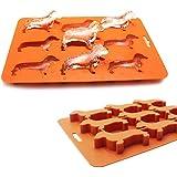 Ayomi - Vaschetta per il ghiaccio, con stampi a forma di cane bassotto