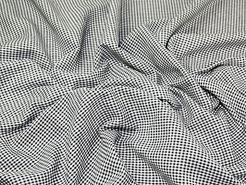 Truella Mini Gingham Check Brushed Soft Cotton Dress Fabric Navy