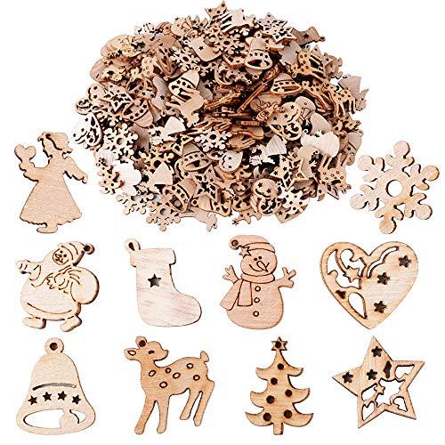 Buondac 200 pz ciondoli natale legno naturale fette abbellimenti natalizi decorazione artigianato albero tavolo casa feste fai da te scrapbooking stili misti