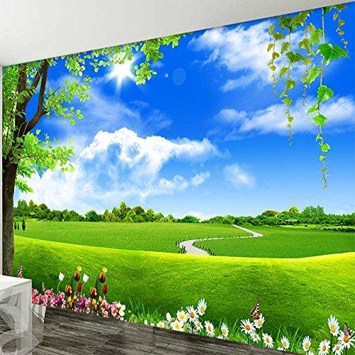 Weaeo Custom 3D Wandbild Tapeten Blue Sky White Cloud Baum Landschaft Wohnzimmer Fernseher Sofa Hintergrund Non-Woven Stroh Tapete Dekor Collage 200 X 140 Cm (Collage-foto-decken)