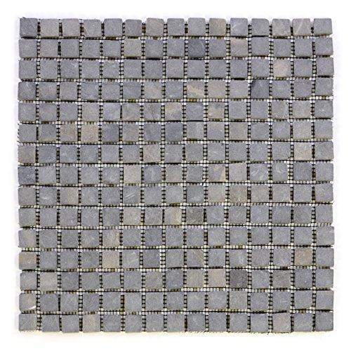 Getrommelt Marmor Mosaik 1x1 (DIVERO Marmor Naturstein-Mosaik Fliesen für Wand Boden quadratisch grau 11 Matten 30 x 30cm je 15 x 15 Steine)