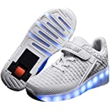 Unisex Bambino LED Scarpe con Rotelle Ricarica USB Lampeggiante Luminosi Formatori Doppia Ruote Pattini a Rotelle Scarpe Spor