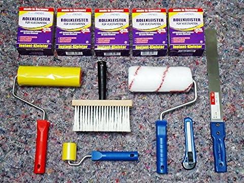 11 tlg.Tapezierset Rollkleister für 100m² + Werkzeug Kleisterroller Andrückroller Cuttermesser Tapeziermesser Nahtroller Kleisterbürste