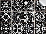 Tile Style Decals 24 stück Fliesenaufkleber für Bad und Küche (T1 - Black)   Mosaik Wandfliese Aufkleber für 15x15cm Fliesen   Deko Fliesenfolie für Bad u. Küche