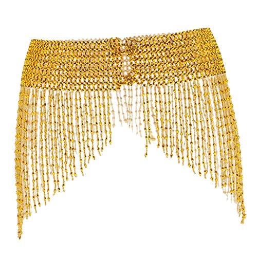 MagiDeal Gürtel Hüfte Schal Rock Wrap Quaste Tanzen Bauchtanz Taille Kostüm - Dunkles Gold (Gold Kostüm Gürtel)