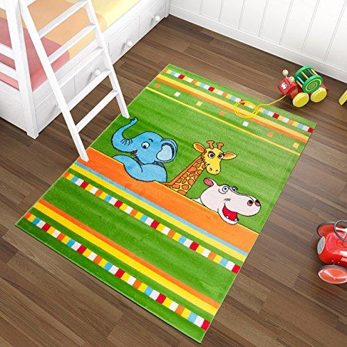 Tapiso Kinder Teppich Kurzflor Kinderteppich Weich Zoo Tiere Streifen Muster Grün Bunt Designer Kinderzimmer ÖKOTEX 140 x 190 cm (Kinder Streifen-teppich)