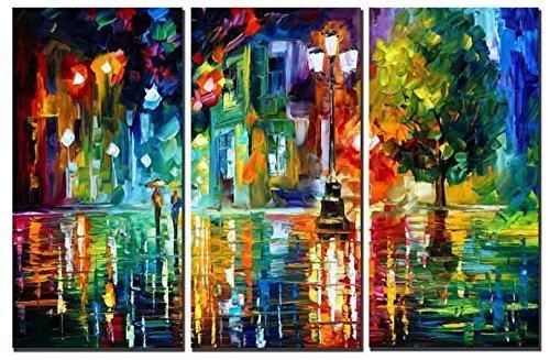 Amoy Art Leinwandbild Raining Street at Night Moderne Abstrakte Malerei Print Wall Art für Home Dekorationen Dekoration mit Holz Rahmen, fertig Zum Aufhängen Set von 3 12x24inx3pcs (Print Home At)