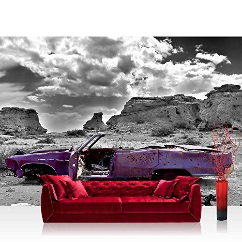 Liwwing - Mural de papel pintado con diseño de fotos abstracto de antiguo de coche con diseño de paisaje