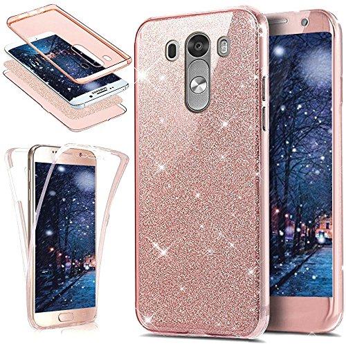SainCat Funda LG G3, 360 Grados Cobertura para Ambas Caras Carcasa 3 en 1 con Flash Polvo Carcasa Ultra-Delgado TPU Transparente de Silicona Cover para LG G3-Rosa
