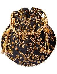 Designer Embroidered Silk Potli Bag Pearl Handle Purse Wedding Women's Handbag With Drawstring Closure & Tassels Black