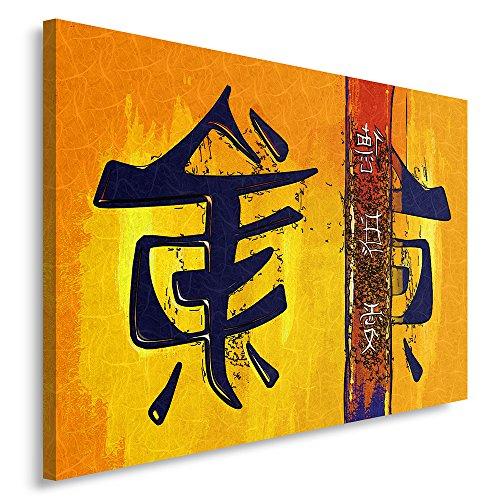 Feeby Frames, Cuadro en lienzo, Cuadro impresión, Cuadro decoración, Canvas de una pieza, 40x50 cm, CARACTERES JAPONESES, PATRONES, JAPAN, ROJO, AMARILLO, ABSTRACCIÓN, MODERNO