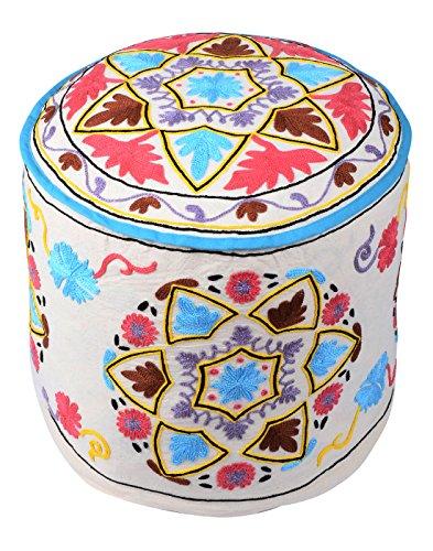 Etnica Bianco rotonda indiano Pouffe cotone floreale ottomano copertina vintage ricamato Ottomana Pouf da (Sedia Da Giardino Ottomano)
