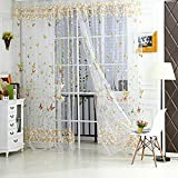 Best Home Fashion Sheer Curtains - Zibuyu Butterfly Floral Tulle Voile Window Curtain Green Review