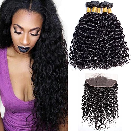 Maxine Peruvian Water Wave 3 Bundles with Frontal 13x4 Pre Plucked Free Part Lace Frontal Virgin Human Hair Bundles Wet and Wavy Hair Extensions Natural Color(14 16 18 with 12) -