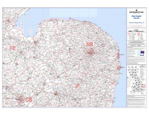 East Anglia (Norden) Postleitzahl Sector Map 15, laminierte Wandkarte