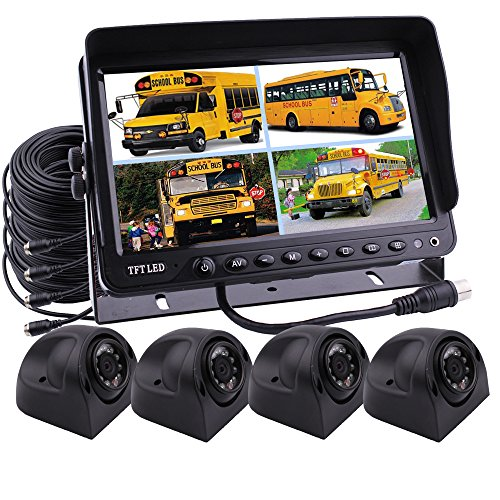 zhiren Auto Backup Kamera System 22,9cm TFT LCD Monitor mit Quad Split Screen Kamera Monitor Kit 4x Seite View Kamera für LKW, Van Camper Bus RV -
