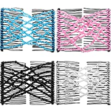 4 Stücke Magische Perlen Doppelt Frauen/Damen Haarklammer, Elegante Elastische Haarkämme Slides DIY Haar Styling Werkzeug (Stil A)