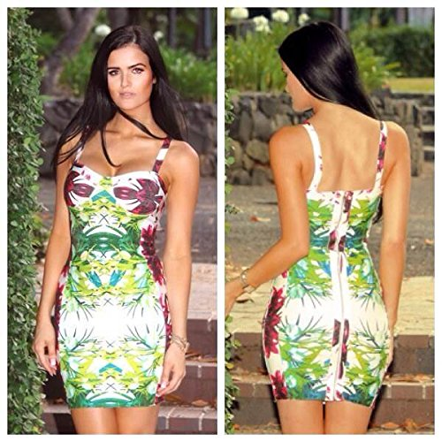HLBandage Women's Sexy Spaghetti Strap Flower Printed Bandage Dress Multicolore