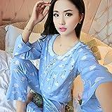 XING GUANG New Nightgown Femmes Printemps Eté Coton À Manches Longues Pantalon Pyjamas Set Coton Soie Survêtement,E(XL)