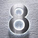 Metzler-Trade - Hausnummer aus V2A Edelstahl - mit indirekter LED-Beleuchtung - in weiß - rostfrei und wetterfest - klassisches Design - spritzwassergeschützt - Höhe: 200 mm Stärke: 35 mm (8)