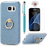 Badalink Galaxy S7 Case 360 Degree Rotating Ring Holder Kickstand Shockproof Drop Protection TPU Flexible Bumper With Detachable Shiny Shell Slim-Fit Protective Cover For Samsung Galaxy S7 - Blue