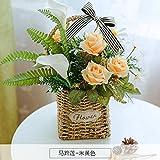 LLPXCC künstliche Blume Wohnzimmer Esstisch Swing Haus dekoriert in Rose American Topfpflanzen und Wandmontage zum Korb Blumen Basketsthatyellow P