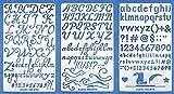 Aleks Melnyk 34 Diario planificador Stencil, Dibujo plantillas Bullet, DIY Craft Scrapbook, bricolaje dibujo plantilla stencil, Número de letra del alfabeto