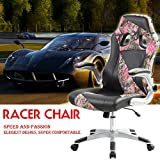 (BTM)EXECUTIVE OFFICE CHAIR PADDED LEATHER HIGH BACK OFFICE CHAIR GAMING CHAIR STUDY CHAIR BUCKET CHAIR ERGONOMIC CHAIR (Pink)
