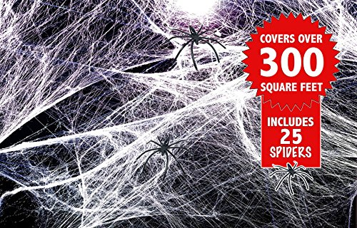 z Deko in Weiß – perfekte Spinnenweben Dekoration für Halloween-Partys – ideal für z.B. Möbel, Wände, Tischdeko, Hauseingang, etc. – mit 25 schwarzen Kunststoff-Spinnen (Schwarze Kunststoff-spinnen)