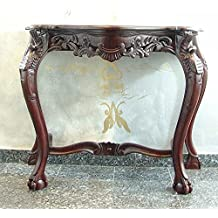 Consola mesa auxiliar final mesa escritorio madera marrón antiguo barroco Retro sólido pierna